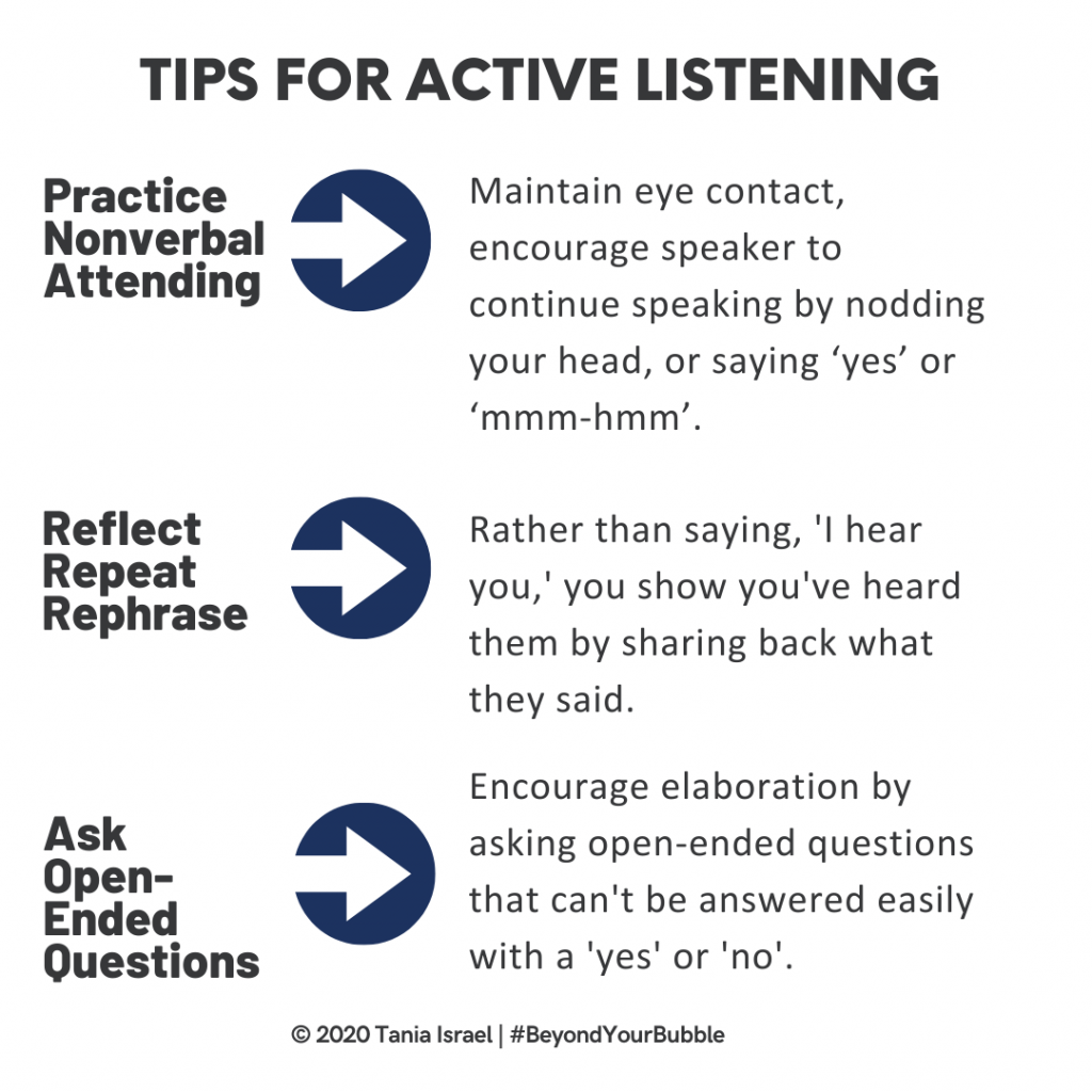 Tips for Active Listening by Tania Israel